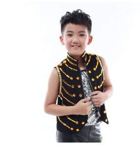 Modern dance drummer hiphop street dance vest waistcoats for boys kids children white black lens rhinestones competition stage performance tops